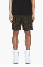 GIVENCHY Black Perforated Leather Camo Shorts for men