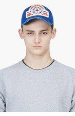 DSQUARED2 Blue Distressed Baseball Cap for men