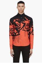 MCQ ALEXANDER MCQUEEN Red & Black Print Button-Down Shirt for men
