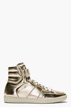 SAINT LAURENT Gold Lamé Leather High Top Sneaker for men