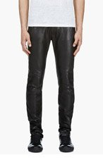 ACNE STUDIOS Black Leather Depp Fly Trousers for men