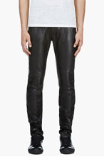 ACNE STUDIOS Black Leather Depp Fly Trousers for men