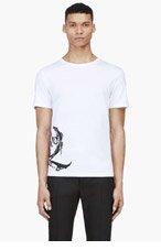 MCQ ALEXANDER MCQUEEN White Painted Monogram T-Shirt for men
