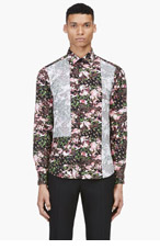 GIVENCHY Black & pink reverse-paneled shirt for men