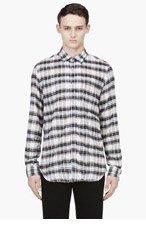 DIESEL Brown & White Flannel Plaid Shirt for men