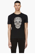 ALEXANDER MCQUEEN Black Lace Skull T-Shirt for men