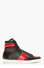 SAINT LAURENT Black & Red Leather High-Top Sneakers for men