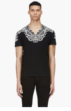 ALEXANDER MCQUEEN Black & beige lace print t-shirt for men