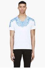 ALEXANDER MCQUEEN White & blue lace print t-shirt for men