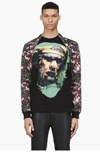 GIVENCHY Black Contrast Print Zip Sweater for men