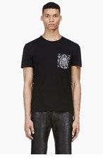 ALEXANDER MCQUEEN Black Lace Print Silk Pocket T-Shirt for men