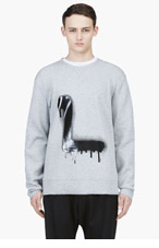 LANVIN Heather Grey Spray Paint L Sweater for men