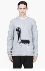 LANVIN Heather Grey Spray Paint L Sweater for men