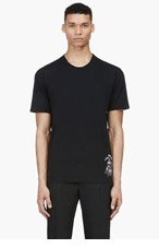 MCQ ALEXANDER MCQUEEN Black Embroidered Bunny T-Shirt for men