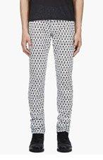 MCQ ALEXANDER MCQUEEN White Cross Print Jeans for men