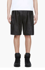 MCQ ALEXANDER MCQUEEN Black Goatskin Pleated Shorts for men