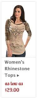 Womens Rhinestone Tops