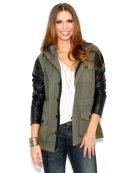 JET by John Eshaya Faux Leather Sleeve Army Jacket