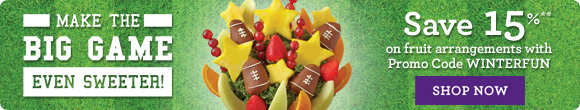Make the big game even sweeter!  Save 15% Promo Code WINTERFUN Shop Now