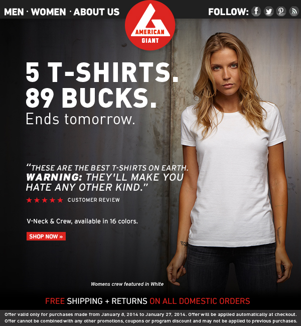 5 Ends Tomorrow: 5 T-Shirts, 89 Bucks.