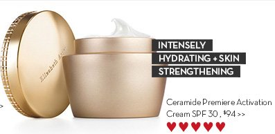 INTENSELY HYDRATING + SKIN STRENGTHENING. Ceramide Premiere Activation Cream SPF 30, $94.