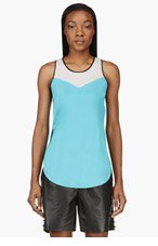 3.1 PHILLIP LIM Turquoise silk SCOOPED OUT TANK TOP for women