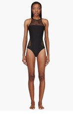 T BY ALEXANDER WANG Black Mesh Racerback One Piece Swimsuit for women