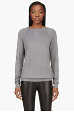 T BY ALEXANDER WANG Heather grey Waffle seed stitch sweater for women