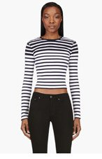 T BY ALEXANDER WANG Navy & white striped Compact Cotton Engineered Stripe t-shirt for women