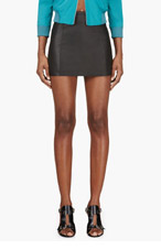 T BY ALEXANDER WANG Black Leather A-Line Mini Skirt for women