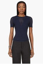 3.1 PHILLIP LIM Navy Blue Short Sleeve Ribbed Crewneck Shirt for women