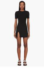 T BY ALEXANDER WANG Black Tech Suiting Fitted Dress for women