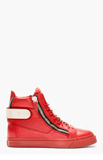 GIUSEPPE ZANOTTI Red Leather Metal Accent High-Top Sneaker for women