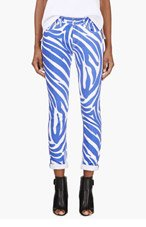 VERSUS White & Blue Zebra Print J.W. Anderson Edition Jeans for women