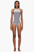 T BY ALEXANDER WANG White Striped Mesh Racerback One Piece Swimsuit for women