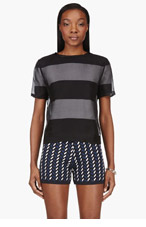 T BY ALEXANDER WANG Black & White Striped Organza Overlay t-shirt for women