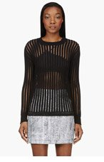 3.1 PHILLIP LIM Black translucent-striped sweater for women
