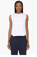 3.1 PHILLIP LIM White Ribbed Drop Tail Tank Top for women