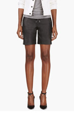 T BY ALEXANDER WANG Black Leather Lace-Up Shorts for women