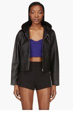 T BY ALEXANDER WANG Black Leather Hooded Jacket for women