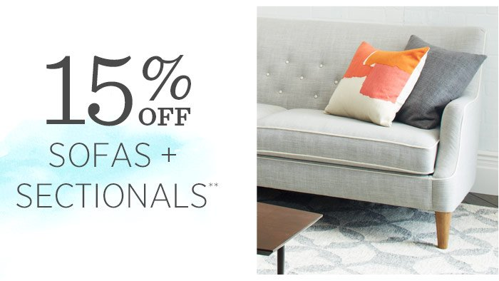 15% Off Sofas + Sectionals** with promo code LONGWKND