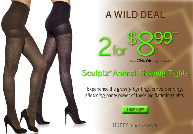 Sculptz Animal Shaping Tights 2 pair pack are only $8.99