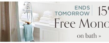 15 off plus free monogramming on bed and bath