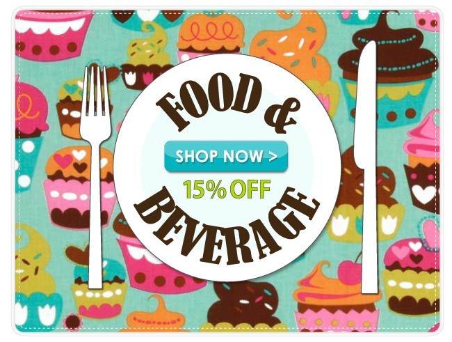 15% off  Food & Beverage Cotton Prints
