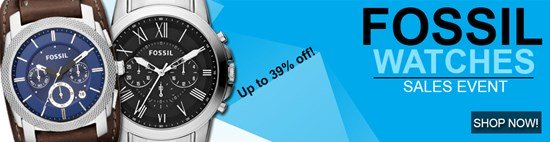 Save up to 39% during the Fossil Watches sales event