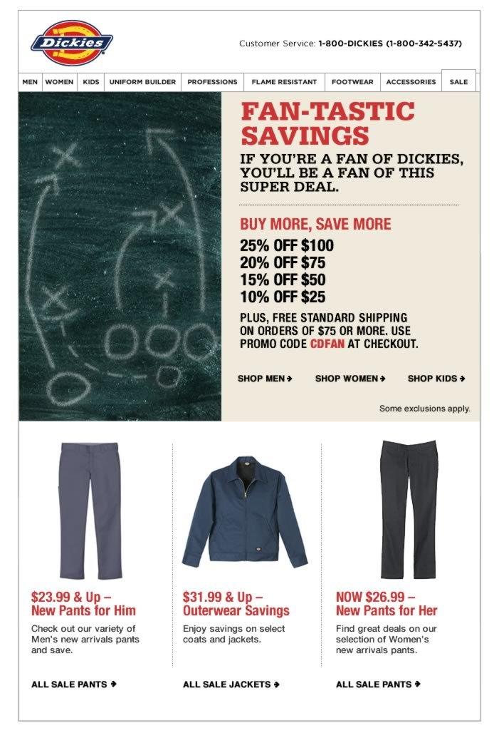 Sneak Peek for Our Preferred Customers: Save 25% - Fan-tastic Savings for Fans of Dickies