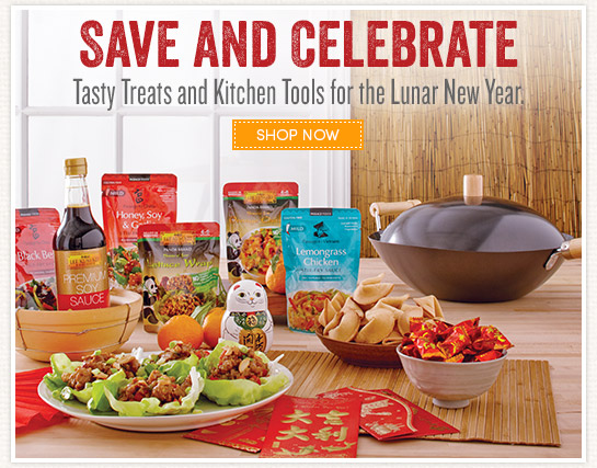 Save and Celebrate. Tasty treats and kitchen tools for the Lunar New Year.