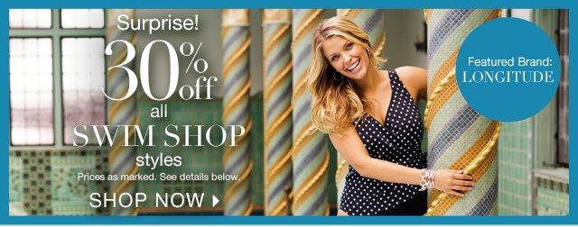 Shop 30% off our entire Swim Shop today!