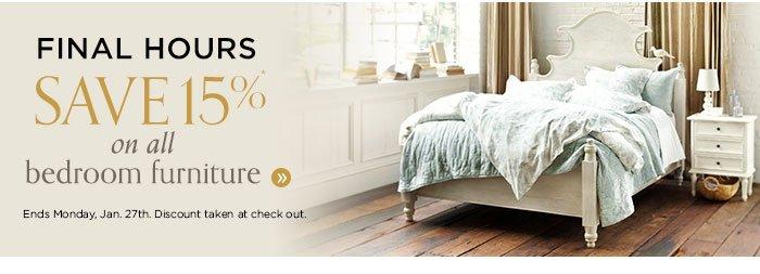 save 15% on all bedroom furniture