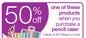 50% off one of these products when you purchase a pencil case_1 1_valued at $14.95aud or more